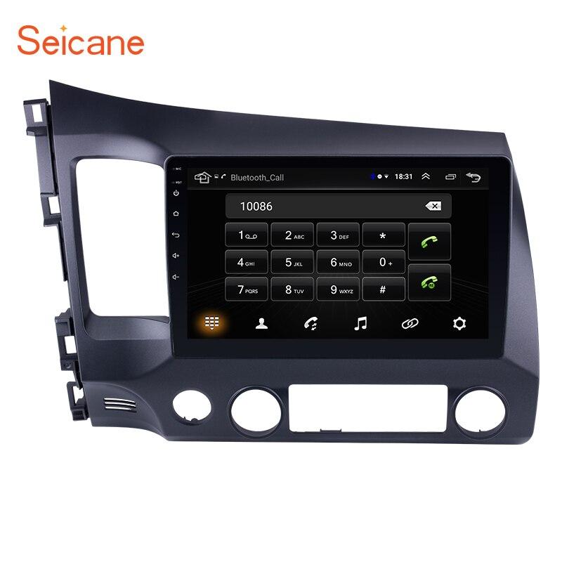 Seicane 10.1 Polegada 2Din Android 8.1 Rádio Do Carro HD Quad-Core 1024*600 Tochscreen GPS Multimedia Player Para 2006-2011 Honda Civic