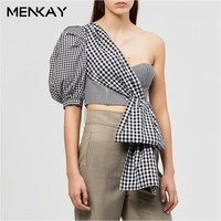 MENKAY Sexy Plaid Puff Half Sleeve Shirt Women Asymmetrical Off Shoulder Summer Crop Top Female 2019 Casual Ladies Cami