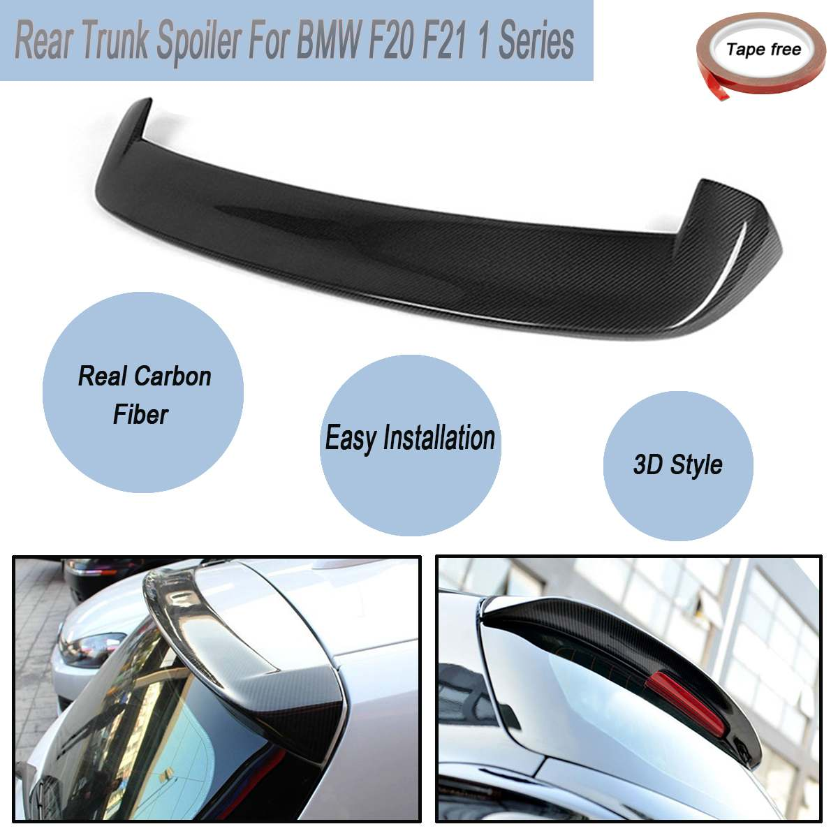 For <font><b>BMW</b></font> F20 <font><b>F21</b></font> 1 Series Full Carbon Fibre M Performance 3D Rear Trunk Car Lip Roof Top <font><b>Spoiler</b></font> Wings With Tape image