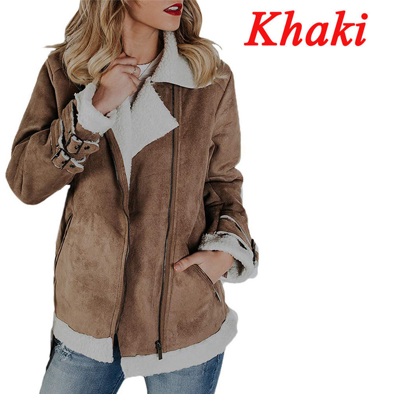 Women's Clothes Ladies   Suede     Leather   Jacket Flight Coat Fashion Newly Winter Warm Zip Up Biker Casual Tops Clothing