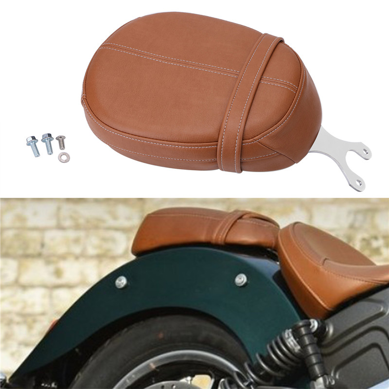 Motorcycle PU Leather Passenger Pillion Seat Brown For Indian Scout Sixty 2016-2018 chrome steel driver backrest support for indian scout sixty 2016 2017 2018 scout sixty motorcycle