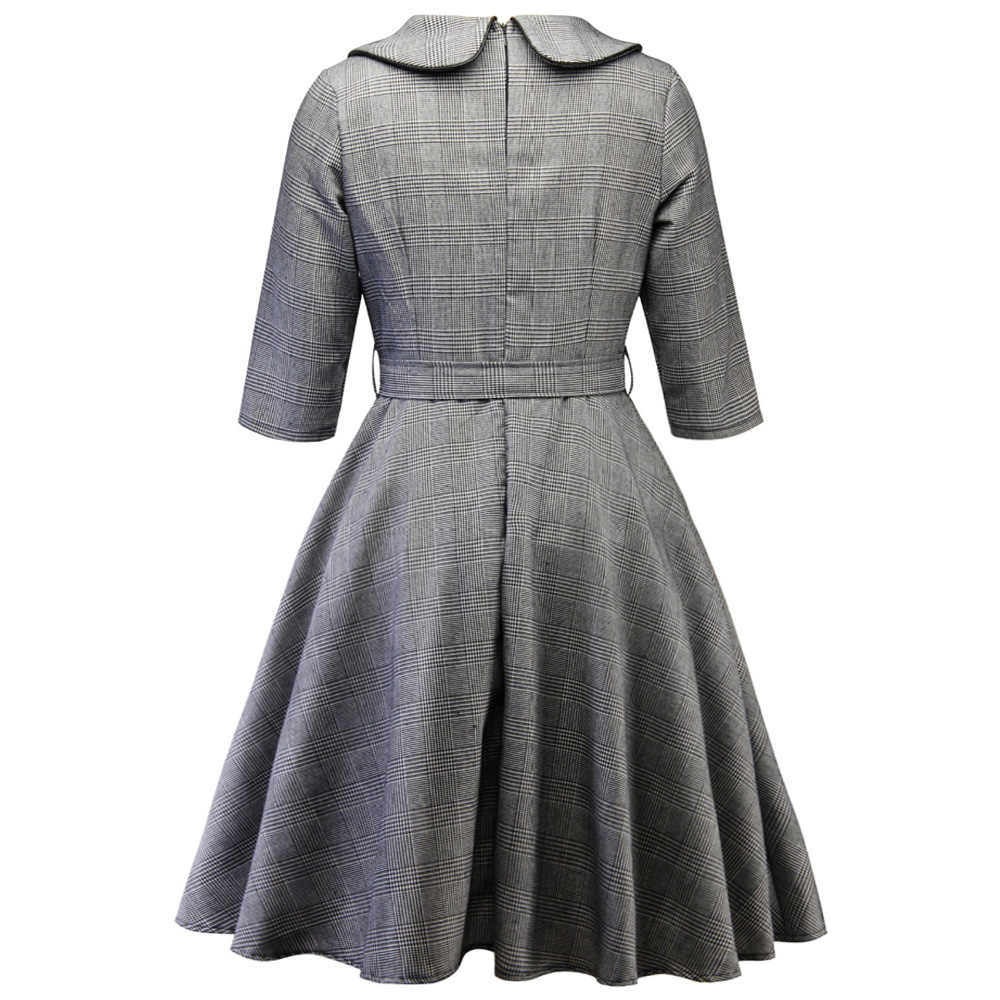 Joineles плюс размер 4XL клетчатое свободное винтажное платье для женщин Повседневное офисное женское платье для работы однобортное весенне-осеннее вечернее платье