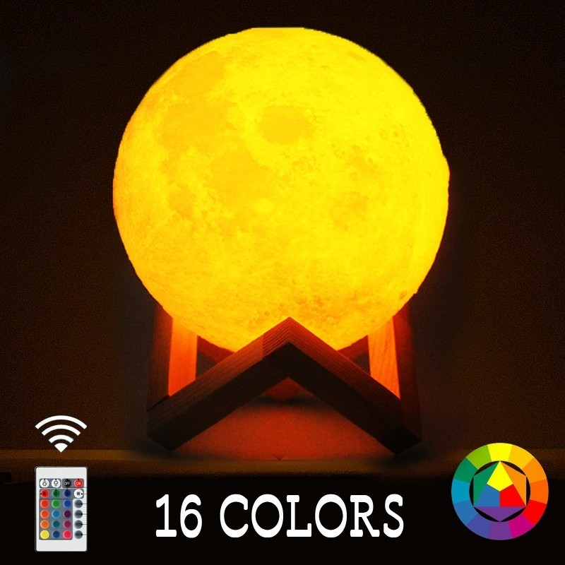 Rechargeable LED Night Light Moon Lamp 3D Print Moonlight Luna Bedroom Home Decor 16 Colors Touch Switch New Year Gift for Baby