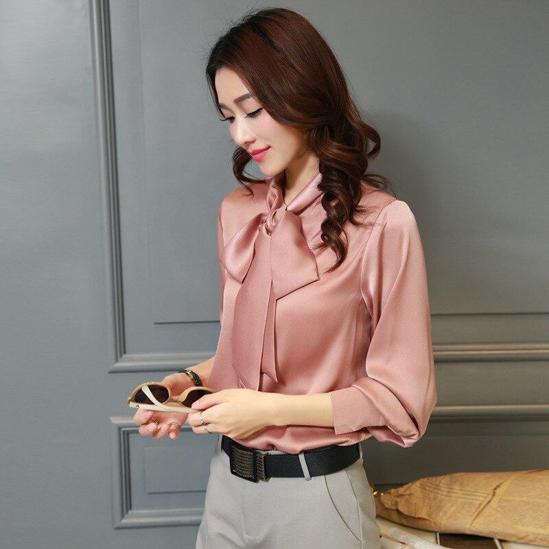 Women OL Silk   Blouse   Satin Long Sleeved Butterfly Bow   Shirt   Feminine Fresh Sweet Tops Plus Size 3XL