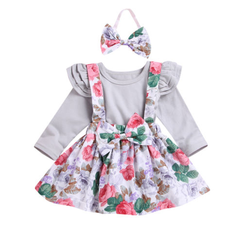 FOCUSNORM Infant Newborn Baby Girls Clothes Sets Rompers Long Sleeve Playsuit Dress Jumpsuit Outfit
