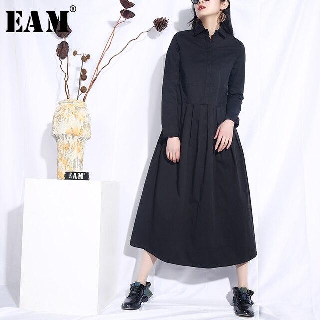 [EAM] 2019 New Spring Summer Lapel Long Sleeve Black Loose Brief Hem Pleated Split Joint Long Dress Women Fashion Tide  JO574
