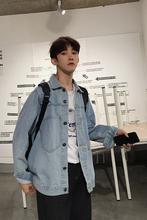 цена Fashion Casual Men's Jacket Autumn And Winter New M-2XL Solid Color Loose Denim Shirt Sky Blue Navy Personality Youth Popular