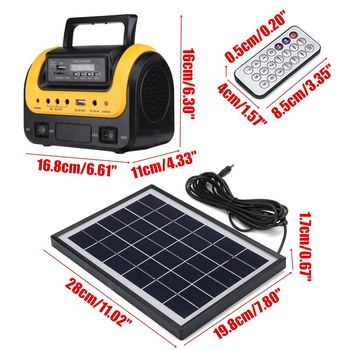 Portable Solar Panel Power Generator LED Lighting System Kit MP3 Flashlight USB Charger 3 LED Bulbs Outdoor Emergency Power 2