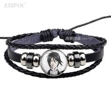 Anime Black Butler Black Leather Bracelet Kuroshitsuji Ciel Phantomhive Sebastian Grell Madame Cosplay Bracelet Gift недорого