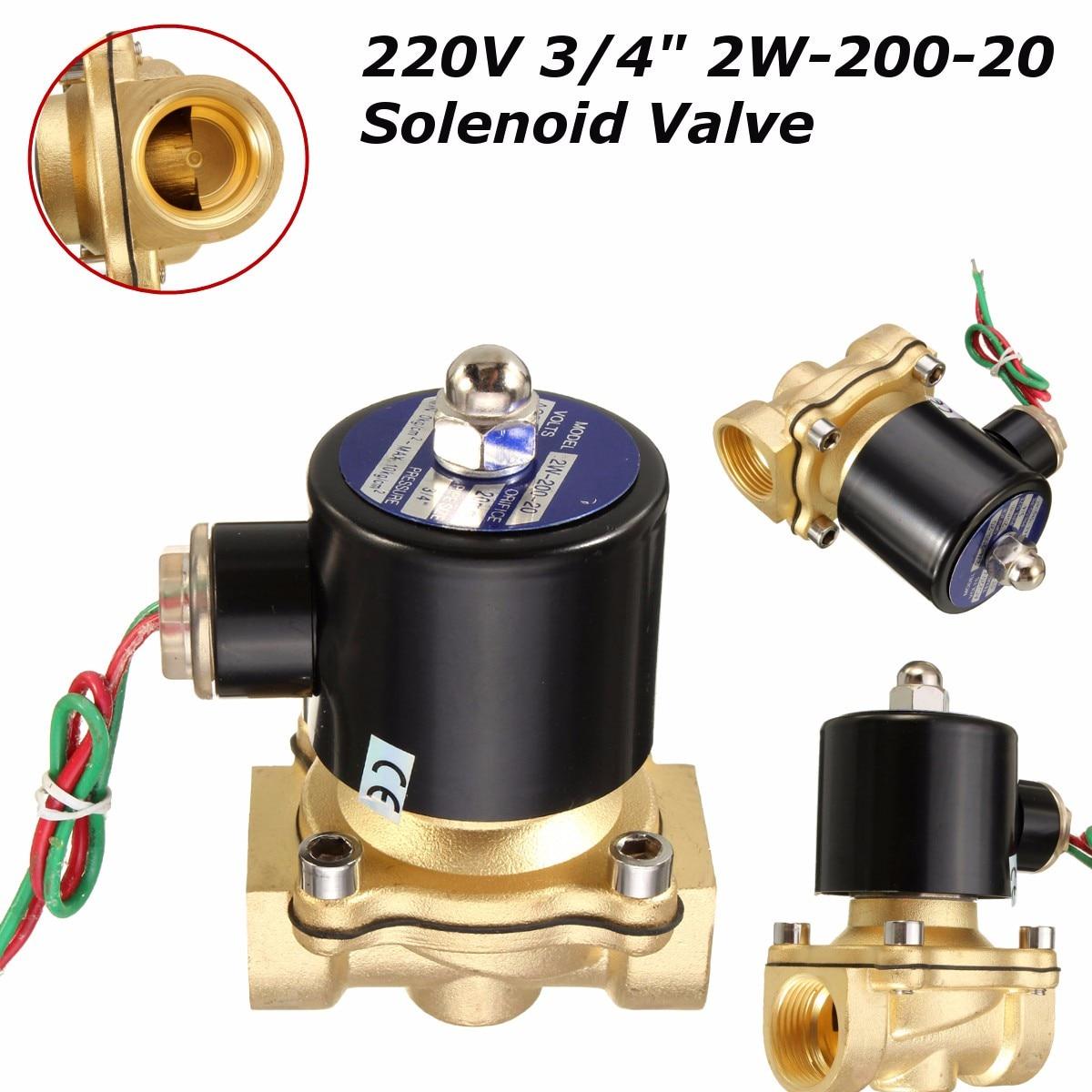"""AC 220 В 3/4 """"латунный Электрический электромагнитный клапан Вода Воздух Топливо черный 2W-200-20 горячее новое поступление электрические"""