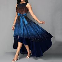 Elegant Party Plus Large Big Size Dress S 4XL Retro Summer Women Bowknot Blue Print Asymmetrical High Low Vintage Long Dress