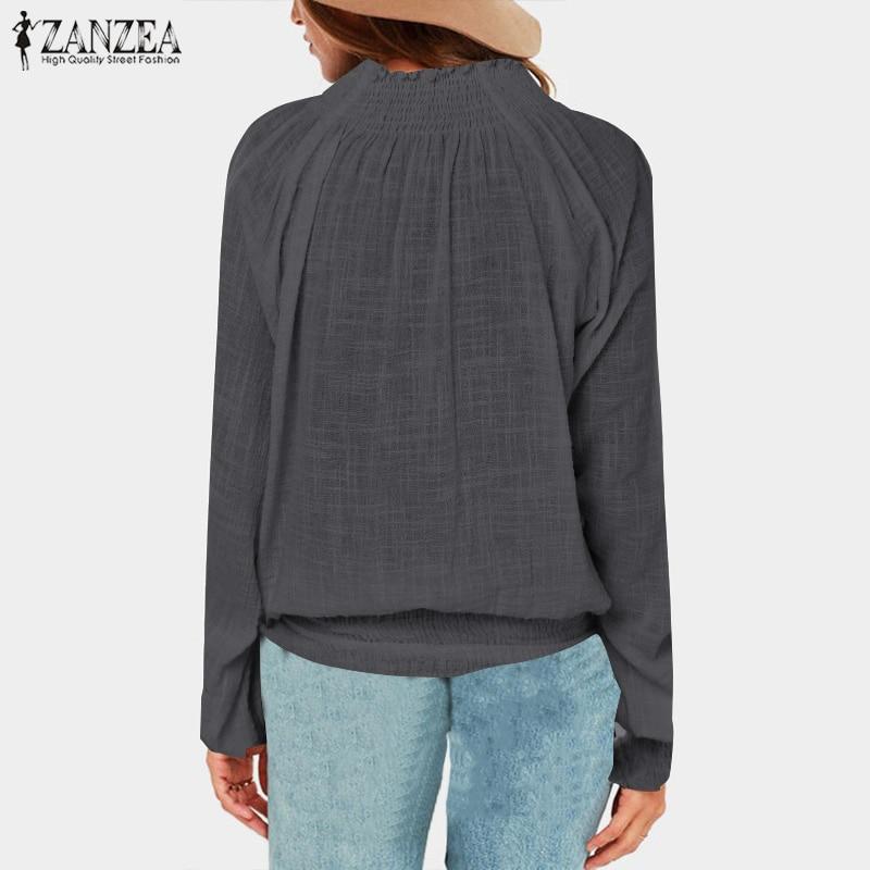 Women Tops and Blouses 2019 ZANZEA Ladies V Neck Shirt Long Lantern Sleeve Blusas Casual Loose Cotton Blusa Feminina Plus Size in Blouses amp Shirts from Women 39 s Clothing