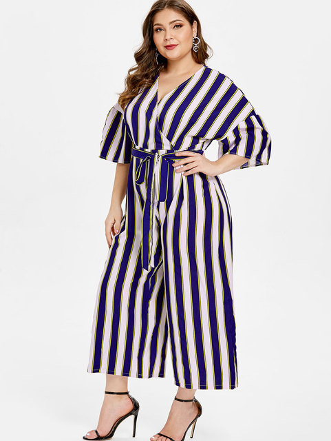 76359ee1964 Wipalo Women Plus Size V Neck Striped Panel Jumpsuit V Neck Half Bell  Sleeves Casual Straight