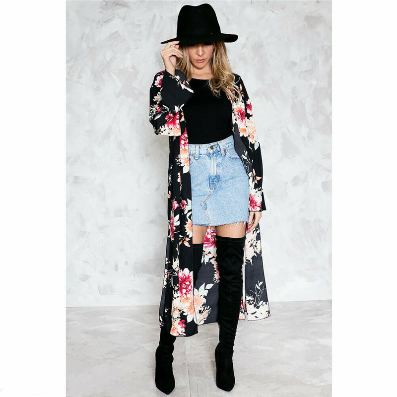 Womens Boho Floral Beach Cover Up Kimono Cardigan Coat Tops Blouse Shawl Kaftan Women's Clothing