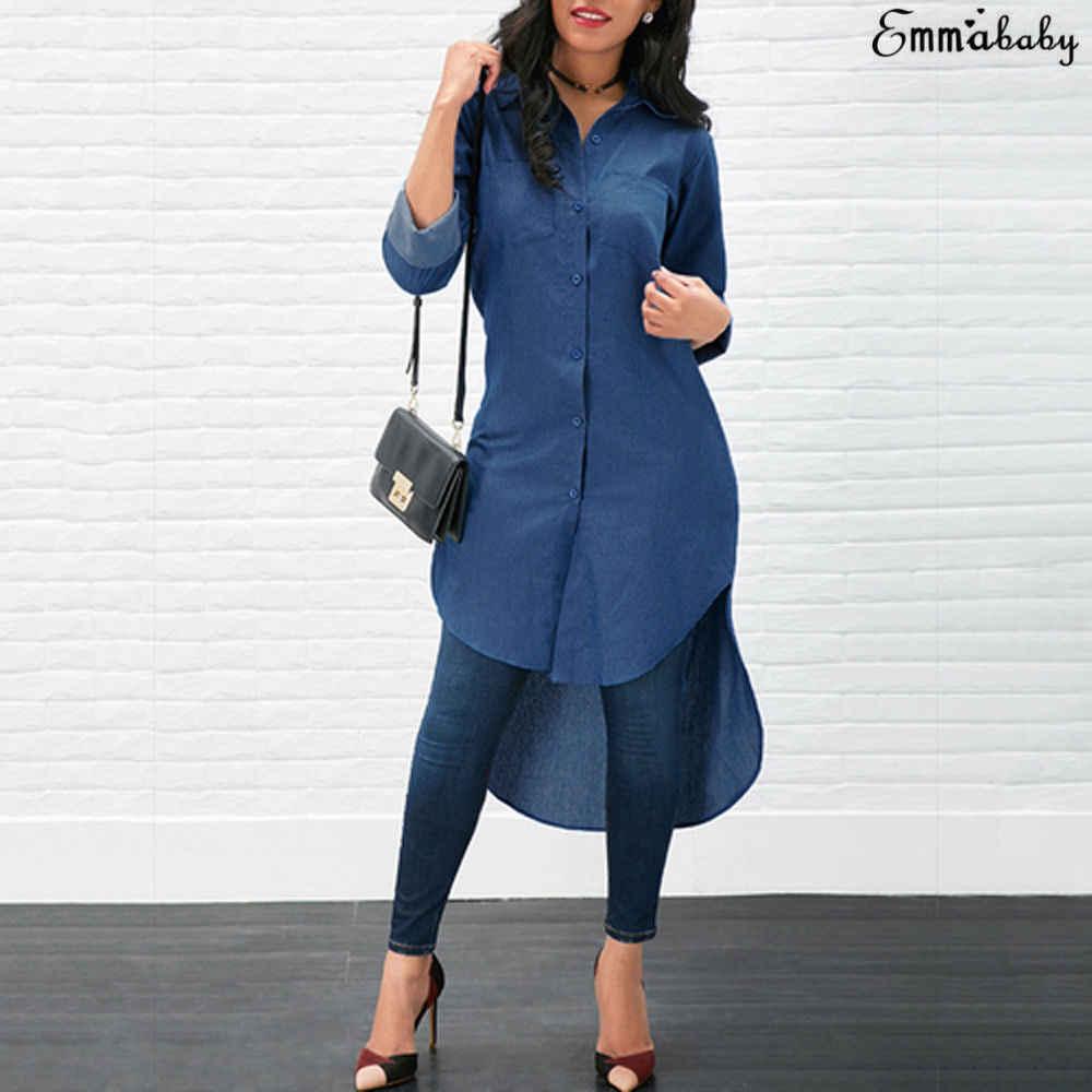 חדש כחול ג 'ינס חולצות נשים ארוך שרוול כפתור מוצק Demin ג' ינס חולצה Clubwear המפלגה Midi שמלת ליידי אופנה מקרית חולצות