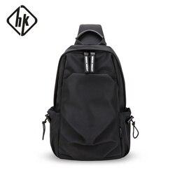 Hk crossbody sacos para homens mensageiro saco peito pacote de carregamento usb saco casual à prova dhk água ombro único 2019 novos pacotes de moda