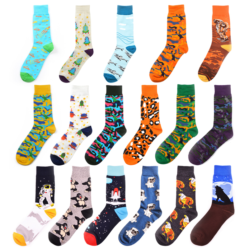 PEONFLY Trend Leopard Colored Short Socks Men Cartoon Astronaut Dog Harajuku Socks Casual Funny Hip Pop Cotton Happy Socks