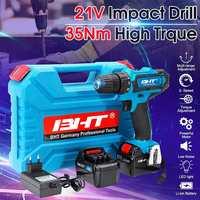 Neueste 21V 2 Geschwindigkeit Bürstenlosen Motor Elektrische Hammer Schraubendreher Cordless Auswirkungen Drill Drahtlose Bohrer LED Licht Li Batterie Werkzeuge