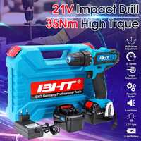 Newest 21V 2 Speed Brushless Motor Electric Hammer Screwdriver Cordless Impact Drill Wireless Drill LED Light Li Battery Tools