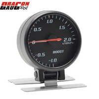 Dragon gauge 60mm Pointer Blue backlight Black Face Auto Car Turbo boost gauge -10~20 KPA Turbo Meter With Sensor