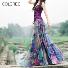 COLOREE каникулы бохо высокая талия плиссированная длинная юбка летняя женская элегантная с цветочным принтом шифоновая юбка макси Saias Longas