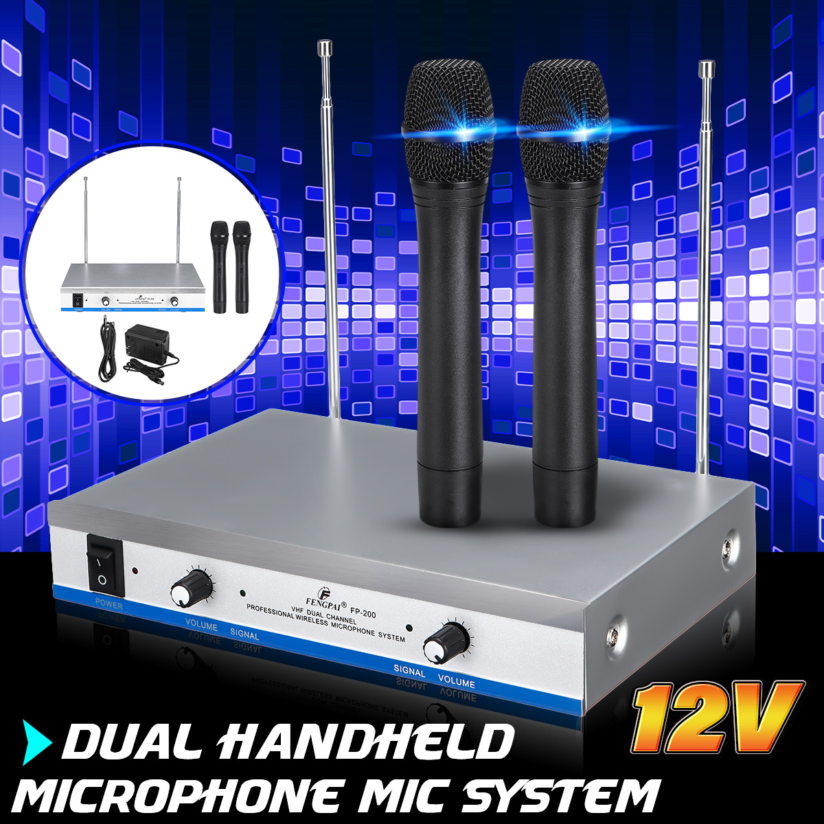 Wireless 2 Channel Dual Handheld Microphone Mic System with Receiver For Studio Home Kareoke KTV Party Supplies SpeakersWireless 2 Channel Dual Handheld Microphone Mic System with Receiver For Studio Home Kareoke KTV Party Supplies Speakers