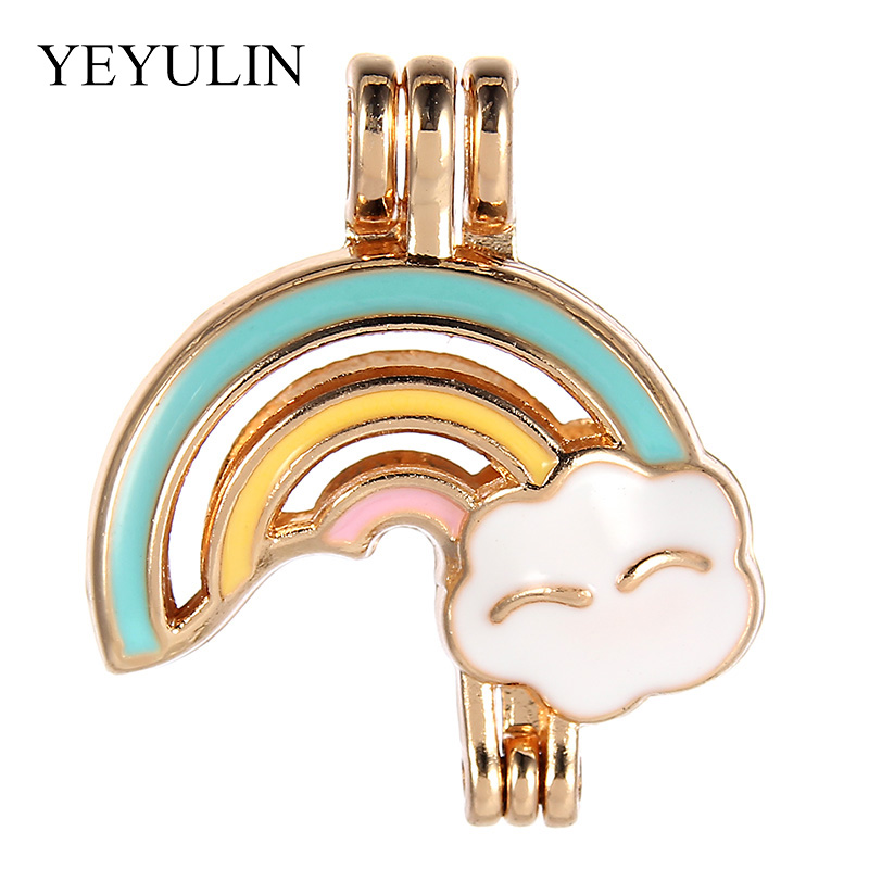 Essential Oil Diffuser Locket Rose Golden Rainbow Cloud  Pearl Beads Cage Pendant For Women New Year Jewelry Gift