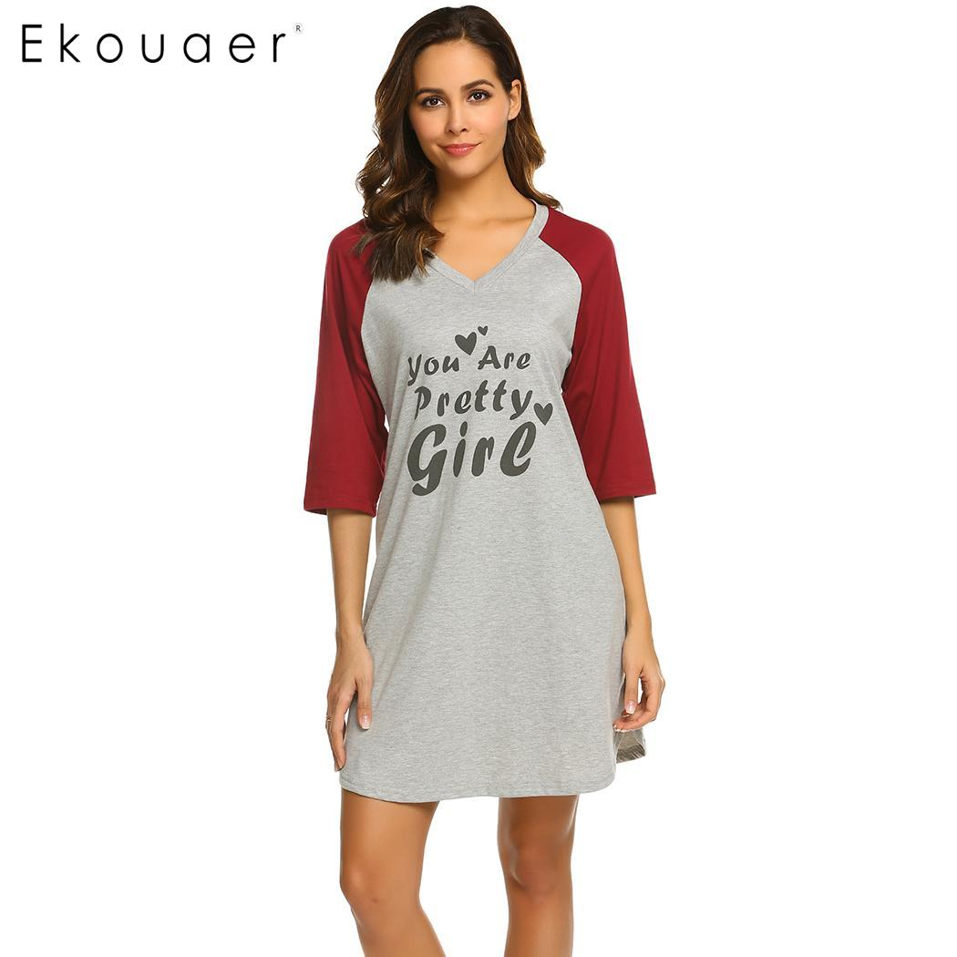 Ekouaer Summer   Nightgown   Chemise   Sleepshirts   Women Loose Home Dress Sleepwear V-Neck Letters Printed Nightwear Nightdress