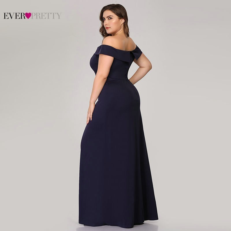 Image 3 - Plus Size Mermaid Prom Dresses Ever Pretty High Split Boat Neck Off the Shoulder Sexy Navy Blue Long Prom Dresses for Party 2019-in Prom Dresses from Weddings & Events
