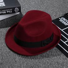 Jazz Casual Solid Wide Brim Feltro Unisex Cappelli stile Fedora e borsalino  Cappello Vino Rosso Rosso Blu Beige Nero di Autunno . 66035169ee6e
