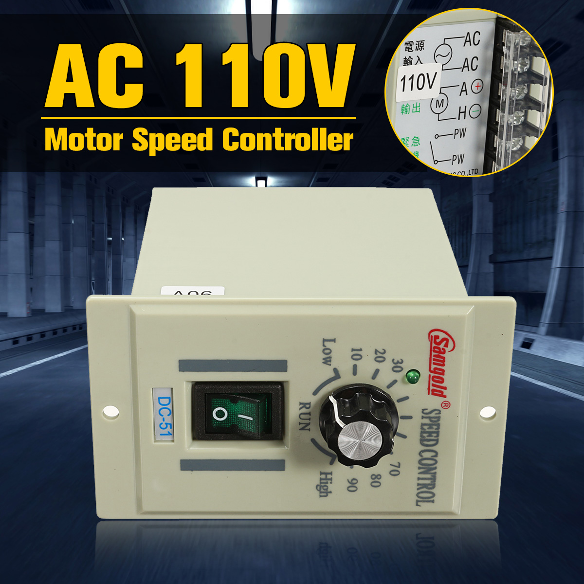 цена на DC-51 1/3 Phase AC 110V Motor Speed Controller Variable Adjust For DC 90V 400W Over Current Protection Short Circuit Protection