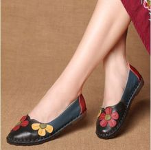 GYKZ 2018 New Hot Sale Summer Autumn Fashion Flower Design Round Toe Mix Color Flat Shoes Vintage Genuine Leather Women Flats