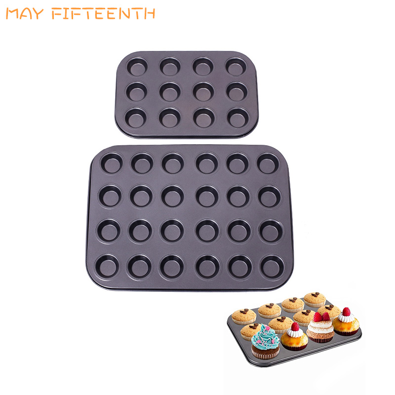 Bakeware Mini Muffin Cake Baking Pan 12/24/48 Holes Cupcake Mold Non Stick Baking Dishes Carbon Steel Oven Trays Pastry Tool 316