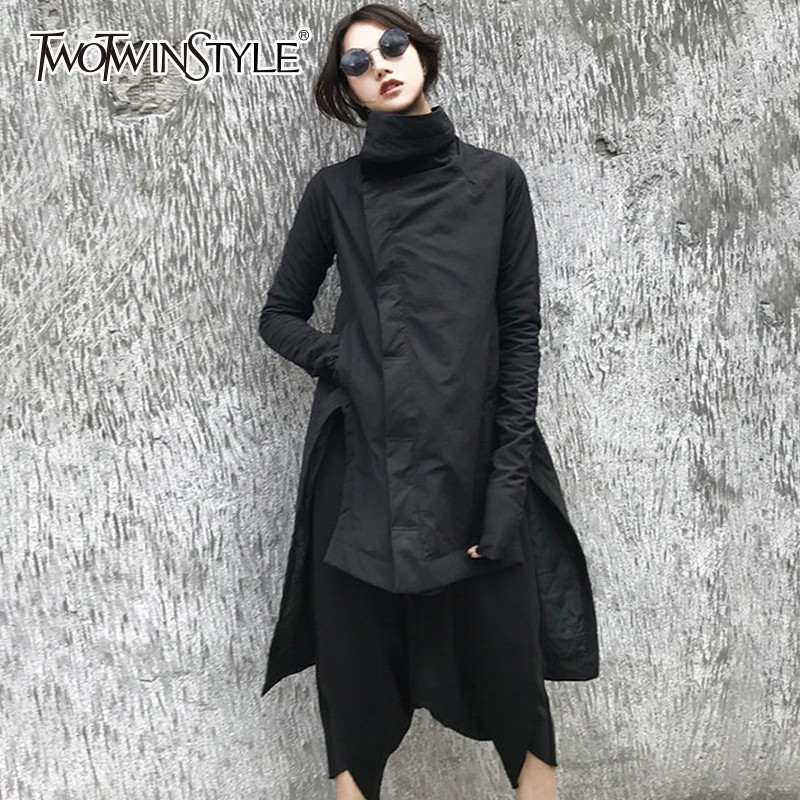 TWOTWINSTYLE Irregular Women s Winter Jacket Long Sleeve Stand Collar Side Split Asymmetrical Hem Coats Female