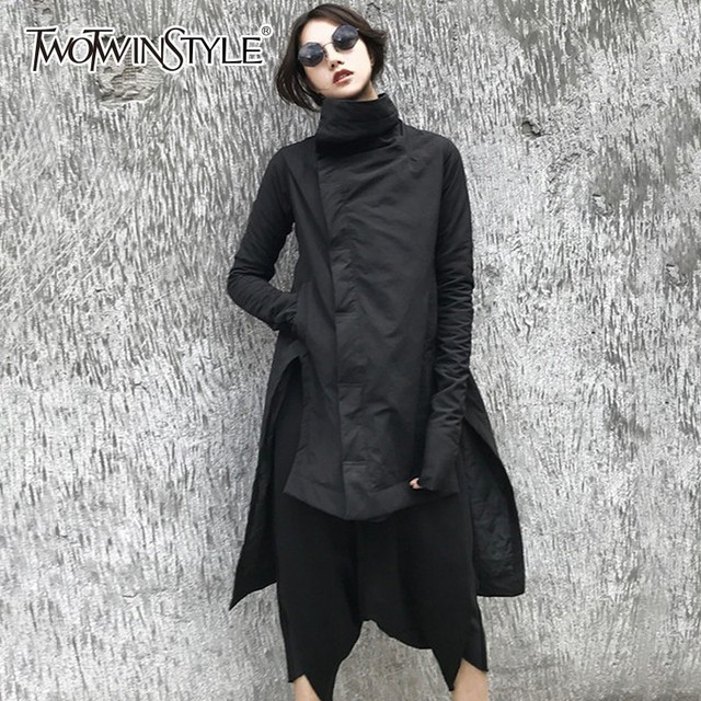 Special Offers TWOTWINSTYLE Irregular Women's Winter Jacket Long Sleeve Stand Collar Side Split Asymmetrical Hem Coats Female 2018 Fashion New