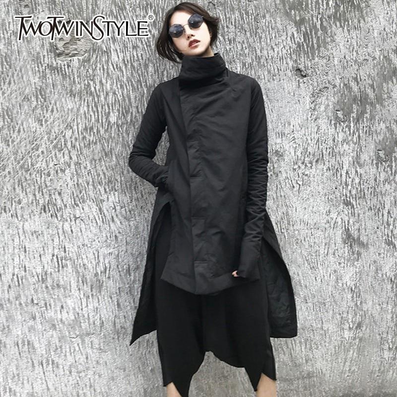 TWOTWINSTYLE ไม่สม่ำเสมอผู้หญิงฤดูหนาวเสื้อแจ็คเก็ตยาวแขนยาวด้านข้างแยกอสมมาตร Hem เสื้อ 2019 แฟชั่นใหม่-ใน เสื้อกันลม จาก เสื้อผ้าสตรี บน   1