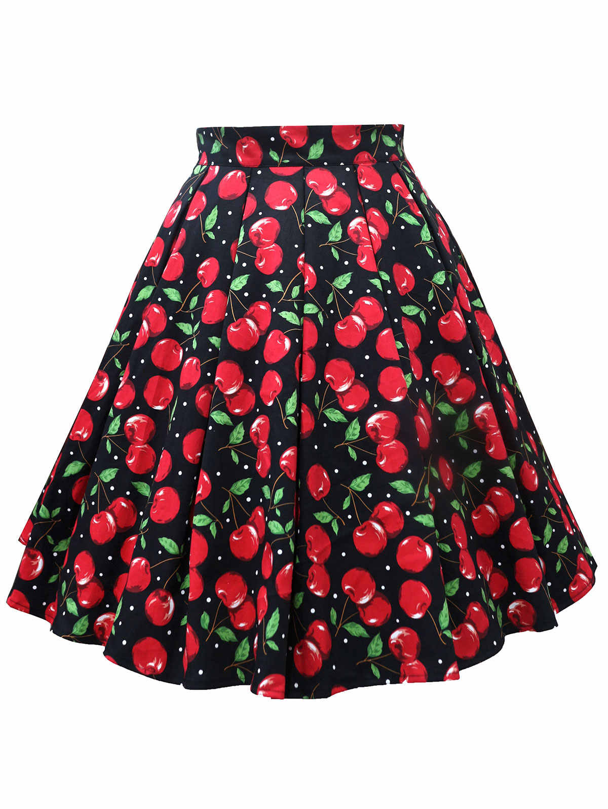 Kenancy Women Plus Size L-5XL Cherry Print Midi Skirt High Waist Vintage  Skater Faldas 99f949cd7cb1