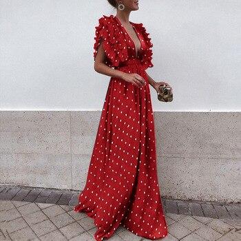 Robe d'été bohème plage en mousseline de soie à pois évider coupe et Flare Maxi femmes robes col en V Patchwork robes Verano 2019