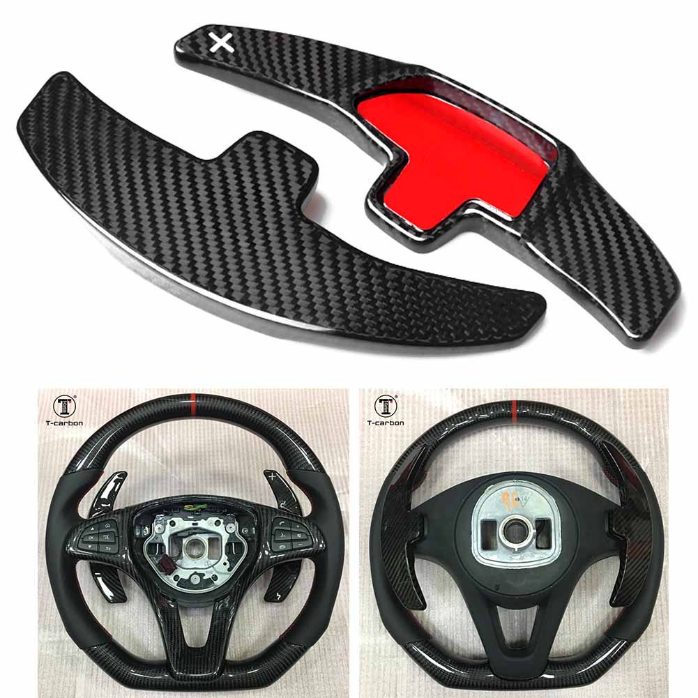 Real Carbon Fiber Steering Wheel Paddle Shift For Benz C180L C260L GLE CLA C200L GLC S