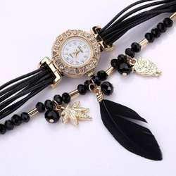 Модные женские перьевые Сова Шарм бисерные Стразы кварцевые часы-браслет