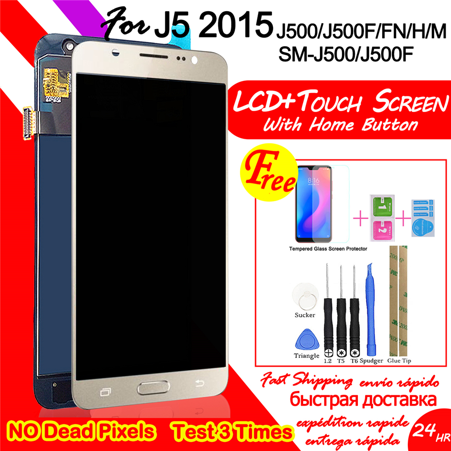 Display LCD para Samsung Galaxy J5 2015 J500 J500H J500FN J500F J500M/DS Tela de Toque Digitador Assembléia com Home botão