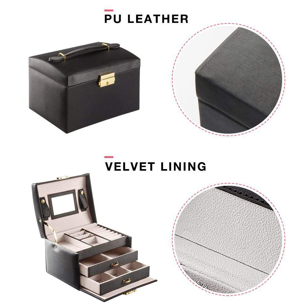 Us 23 2 Black Color Pu Leather Jewelry Packaging Box With 2 Drawers Three Layer Storage Jewelry Organizer Carrying Cases Women Cosmetic In Jewelry