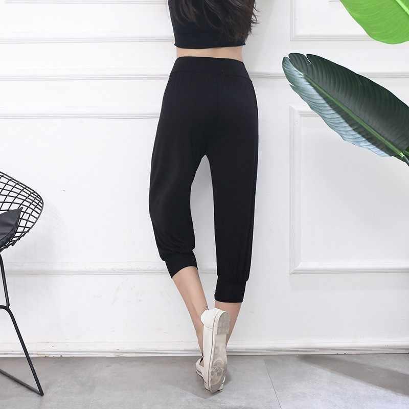 Ropa de verano para mujer 2019 nuevo Modal Casual harem Pantalones mujer recortado pantalones de cintura alta plisado Mujer Deporte pantalon Capris