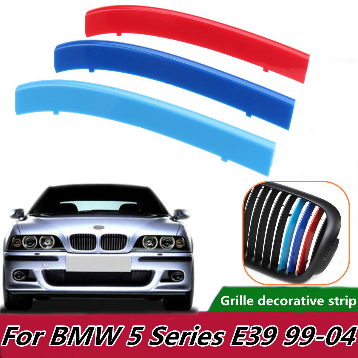 3pcs <font><b>Car</b></font> Front Grill Sport <font><b>Stripes</b></font> Motorsport Power Stickers for <font><b>BMW</b></font> E39 1999-2004 Grille Trim Fasten Tri-Color Strips Covers image