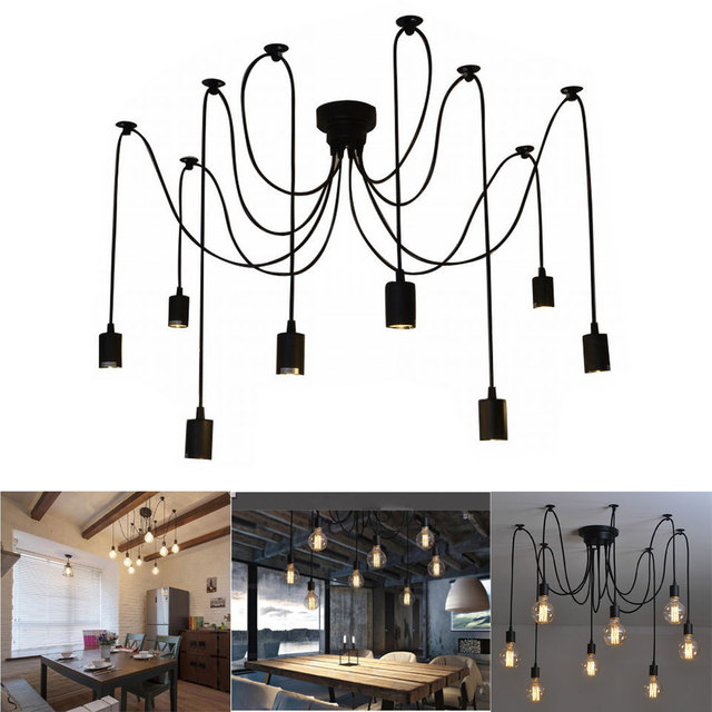 New Style 8 Arms Antique Classic Ajustable DIY Ceiling Spider Lamp Light E27 Retro Chandelier Pendant Dining Hall Bedroom Hotel