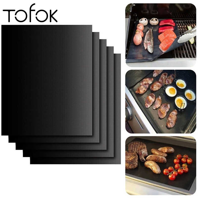 Tofok Teflon Fiber Non-stick BBQ Grill Mat Baking Liners Heat Resistant Reusable Cooking Sheet Hot Plate Portable Pad 40*33cm