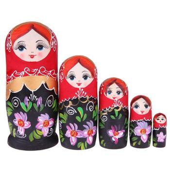 5 unids/set negro niña en rojo ruso Matryoshka muñecas de juguete de madera muñecas de anidación mejor cumpleaños artesanías de Navidad para el regalo de los niños