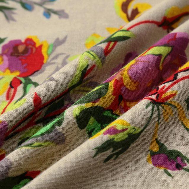 Robe fleurie, longue vintage en coton et lin 5