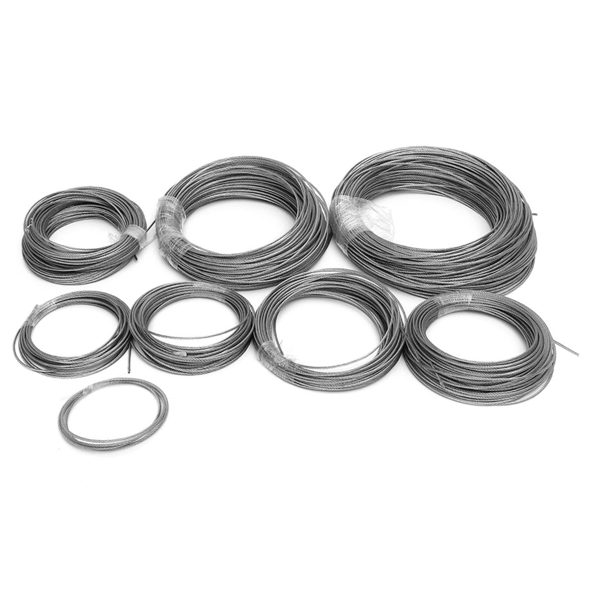 1-100M Stainless Steel Wire Rope Tensile Diameter 1mm Structure Cable Fishing Lifting Cable Clothesline