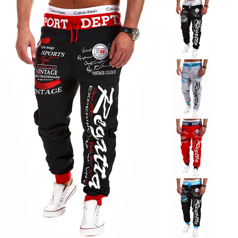 Baker Men Pants Fashion Fall New Casual  Full Length Men's Trackpants Drawstring Letter Printed Street Wear Loose Harem Pants